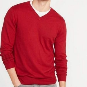 Old Navy men's red V-neck sweater sz Small